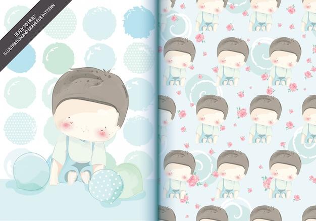 Aquarell am feiertag mit kindern im illustrations- und mustersatz.
