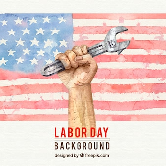 Aquarell amerikanische flagge hintergrund und hand mit schraubenschlüssel