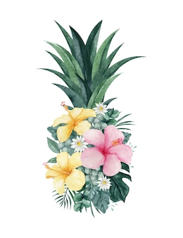 Aquarell-ananas-illustration mit tropischem blumenarrangement