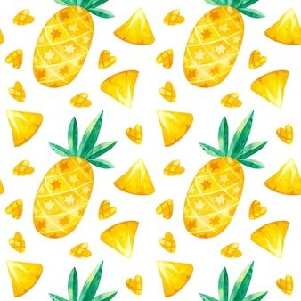 Aquarell ananas nahtloses muster