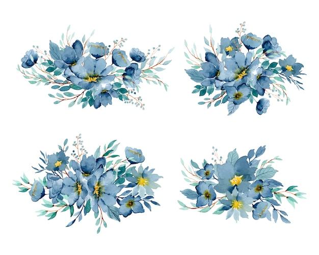 Aquarell-anordnungssammlung des blauen indigos mit blumen