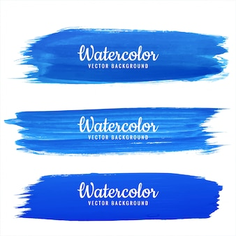 Aquarell-anschlagdesignsatz des abstrakten blauen handabgehobenen betrages