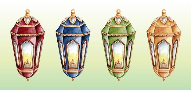 Aquarell arabische laterne ramadan set