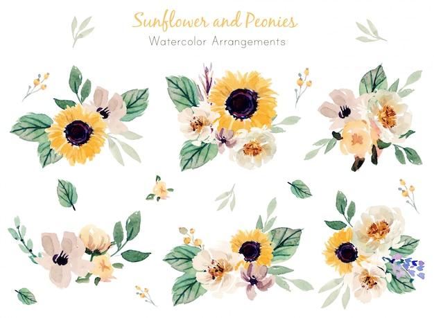 Aquarell-arrangements von sonnenblumen und pfingstrosen