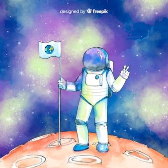 Aquarell astronaut charakter im raum