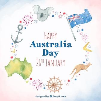 Aquarell australien-tageshintergrund mit verschiedenen elementen