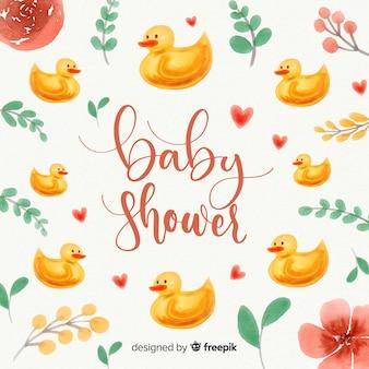 Aquarell-baby-dusche-vorlage