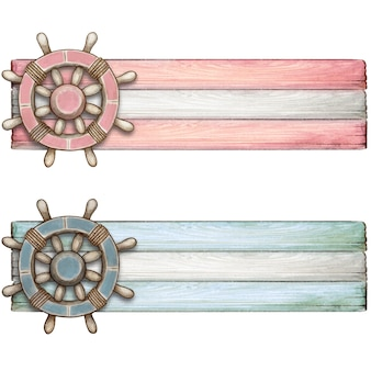 Aquarell-baby-pastell-tags mit vintage-helm