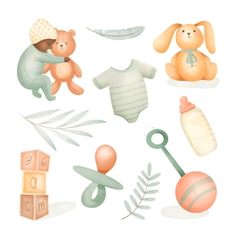 Aquarell babysachen sammlung