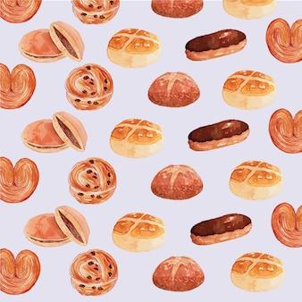 Aquarell-bäckerei-produkt-nahtloses muster