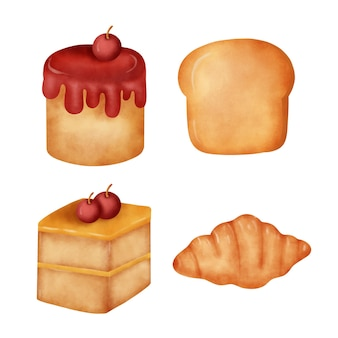 Aquarell bäckerei-set