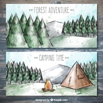 Aquarell banner von camping in einem pinienwald