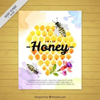 Aquarell bienenstock mit bienen broschüre