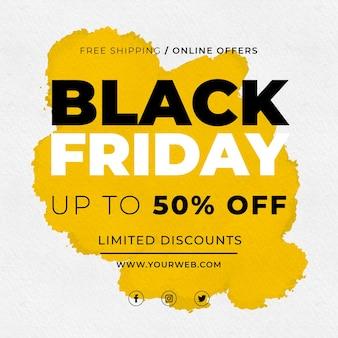 Aquarell black friday sale mit gelbem fleck