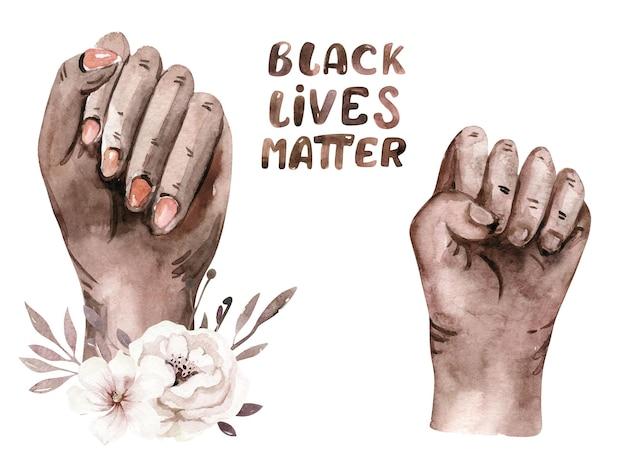 Aquarell black lives matter clipart hand frau herzen gemeinschaft mensch