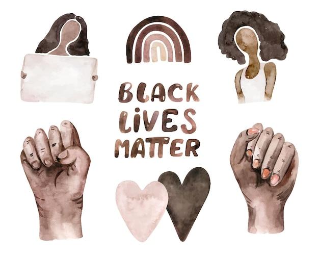 Aquarell black lives matter clipart. hand, frau, herzen, regenbogen, sport, streifen, blätter.