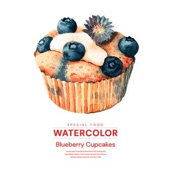 Aquarell blaubeer cupcakes