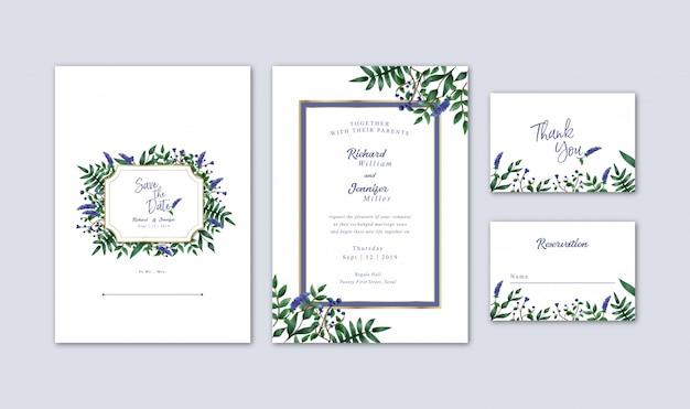 Aquarell-blaubeeren und blumen, die einladung wedding sind