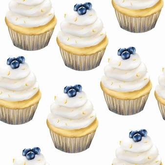 Aquarell blaubeermuffin cupcake musterhintergrund