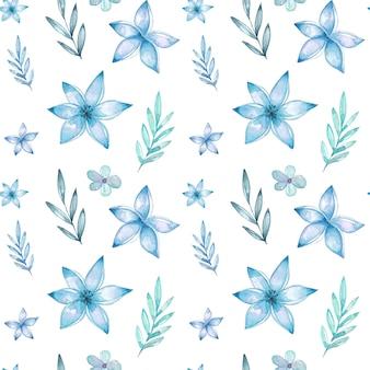 Aquarell blaue nahtlose blumenmuster
