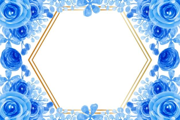 Aquarell blauer blumenrahmenhintergrund