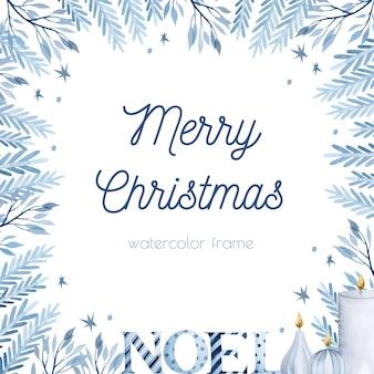 Aquarell blauer tannenzweig weihnachtsrahmen hintergrund