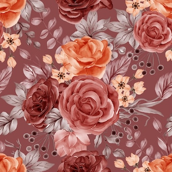 Aquarell blume rose herbst herbst nahtlose muster