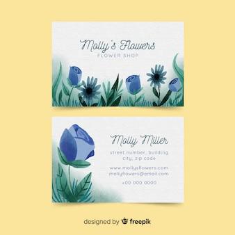 Aquarell blumen businewatercolor floral visitenkarte templatess kartenvorlage