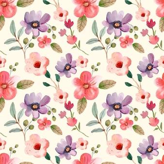 Aquarell blumen lila und rosa frühling nahtlose muster