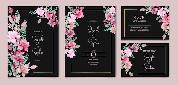 Aquarell-blumen-set isoliert auf weißer sammlung von rosenblättern zweige bündeln hochzeitskarte