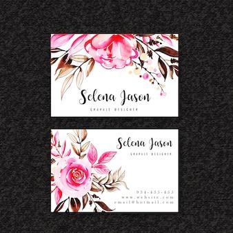 Aquarell Blumen Visitenkarte Vorlage