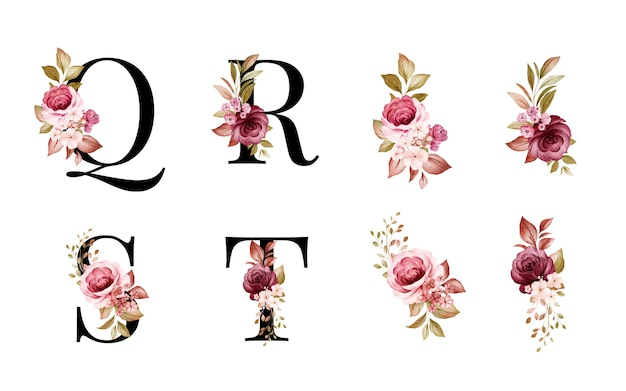 Aquarell-blumenalphabet-satz von q, r, s, t mit roten und braunen blüten und blättern.