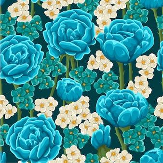Aquarell-blumenblatt-nahtloser muster-hintergrund