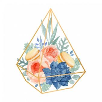 Aquarell-blumengesteck im geometrischen terrarium voll mit rose, eukalyptus, staubigem müller, succulent und makronen