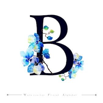 Aquarell-blumenhintergrund des alphabet-buchstabe-b