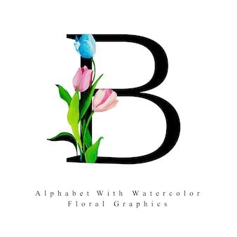 Aquarell-blumenhintergrund des buchstaben-b