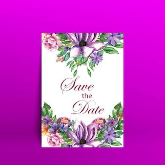 Aquarell blumenhochzeitskarte mit lila hintergrund