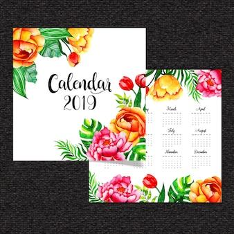 Aquarell-blumenkalender 2019