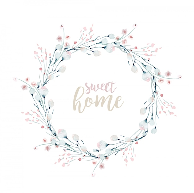 Aquarell blumenkranz und schriftzug, süßes zuhause