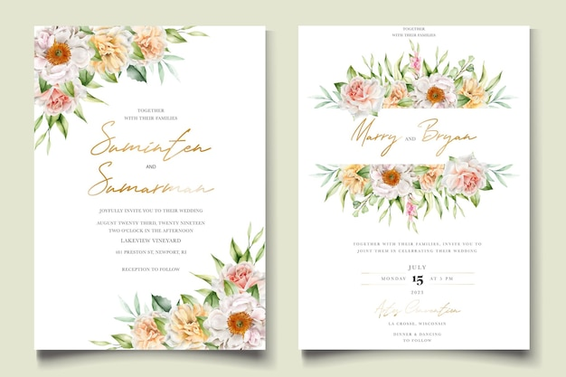 Aquarell blumenpfingstrosen und rosen hochzeitseinladungskarte gesetzt