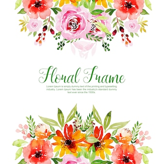 Aquarell-Blumenrahmen-Mehrzweckhintergrund