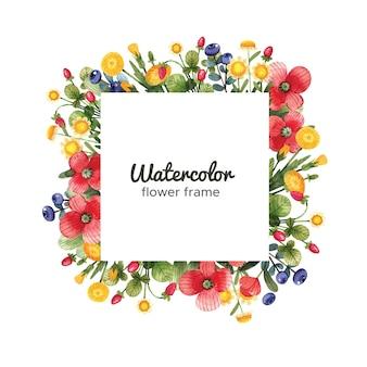 Aquarell blumenrahmen mit wildblumen. quadratischer rahmen mit blumen