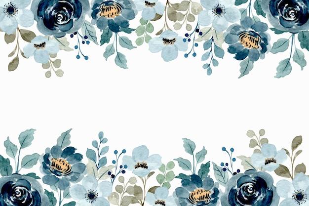 Aquarell blumenrahmen. weicher blauer blumenhintergrund