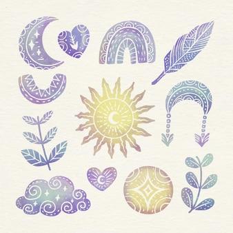 Aquarell boho-elementsammlung