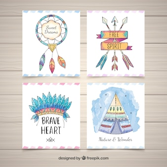 Aquarell Boho-Kartensammlung