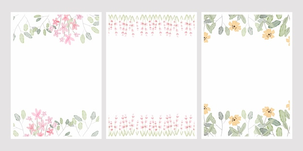 Aquarell botanische handzeichnung blätter kranz mit kleinen rosa und gelben blüten