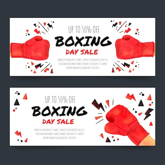 Aquarell boxing day sale banner vorlage