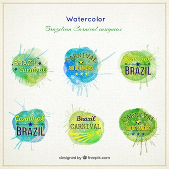 Aquarell brasilianischer karneval insignien