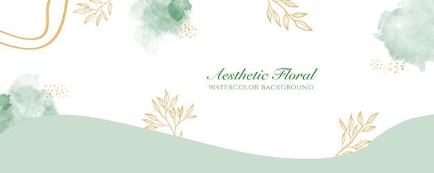 Aquarell breite bannerabdeckung oder webseitenwerbung. aquarell abstrakte splatter grün gold glänzende breite vertikale vektor hintergrundvorlage. für schönheit, hochzeit, make-up, schmuck. romantisch feminin