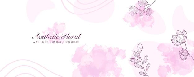 Aquarell breite bannerabdeckung oder webseitenwerbung. aquarell abstrakte splatter rosa pastell glänzend breite vertikale vektor hintergrundvorlage. für schönheit, hochzeit, make-up, schmuck. romantisch feminin